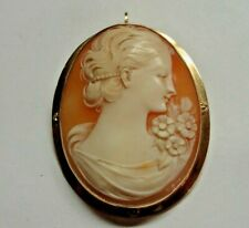 """Vintage 10kt Yellow Gold Carved Conch Cameo Pin  / Pendant 1-7/8"""" x 1-1/4""""  8.6g"""