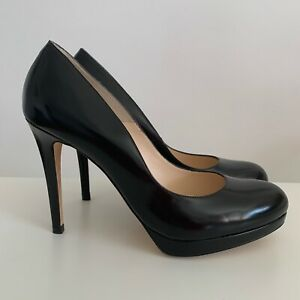 New-LK-Bennett-Black-Patent-Leather-Sledge-Round-Toe-Platform-Pumps-size-8-42