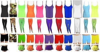 Girls Ladies Neon Leggings Vest Hotpant Rara Disco Funky Microfiber Gymnastics