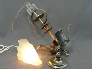 Antique-Art-Deco-Metal-Mixte-Chandelier-5-Lumiere-en-Acier-Cuivre-Laiton-Lourd-Cast
