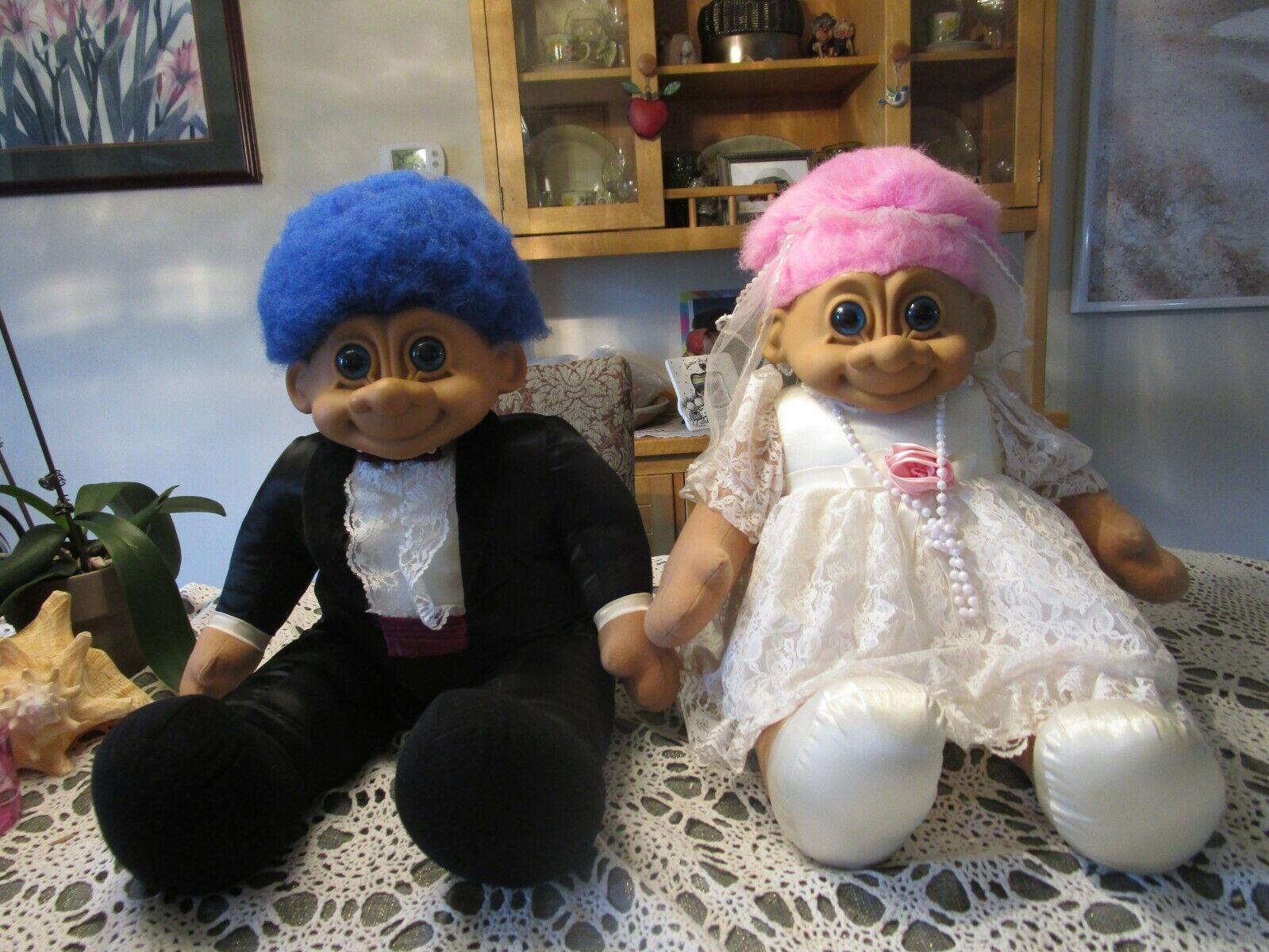 GIANT RUSS BRIDE & GROOM - 22 -24  Russ Troll Dolls - Rare