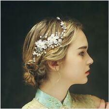 3xpcs handmade bridal prom crystal pearl side tiara hair comb hair