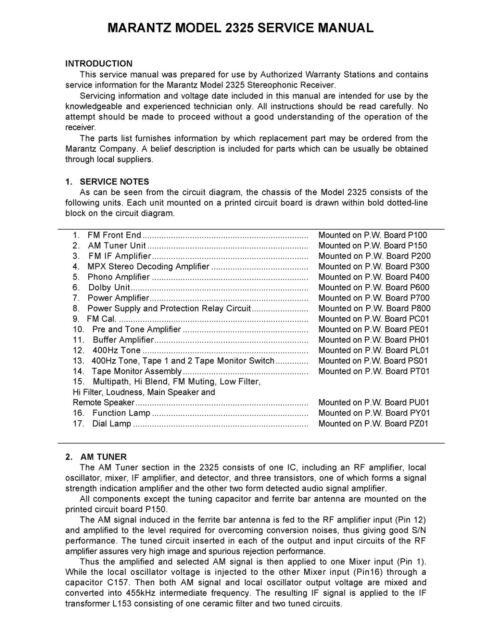 Service Manual For Marantz 2325
