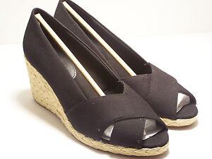 56f53ace9e3 CHAPS Dakoda Womens Shoes Slip On Wedge BLACK Espadrilles Peep Toe ...