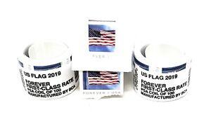 New USPS US Flag Forever Stamps 2 Rolls of 100 with Free Stamp Dispenser Holder