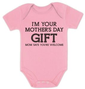 I M Your Mother S Day Gift Dad Says Welcome Funny Cute Baby Bodysuit