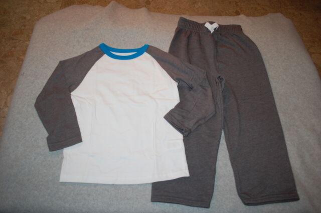 Toddler Boys Outfit GREEN /& NAVY BLUE Lightweight Knit Pants /& L//S Tee Shirt 4T