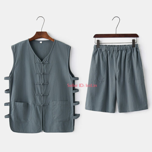 Men Cotton Linen Tang Suit Short Martial Arts Uniform Set Kung Fu Taichi Costume