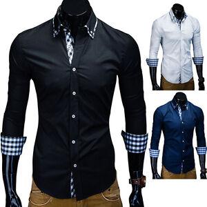 MT Herren Langarm Hemd Slim Fit Karo Kontrast Polo Shirt Schwarz ... 8ecdec9770