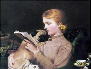1879-Vintage-VICTORIAN-Lady-amp-PUG-Dog-CANVAS-Antique-Era-Art-Print-11-x-8-5