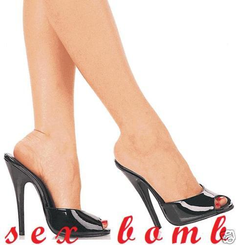 Sexy SANDALI DOMINA tacco 15 n. 36 sabot black LUCIDO shoes Club Glamour