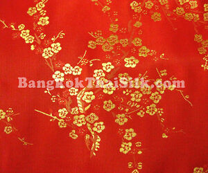 red gold faux silk cherry blossoms dogwood brocade fabric costume