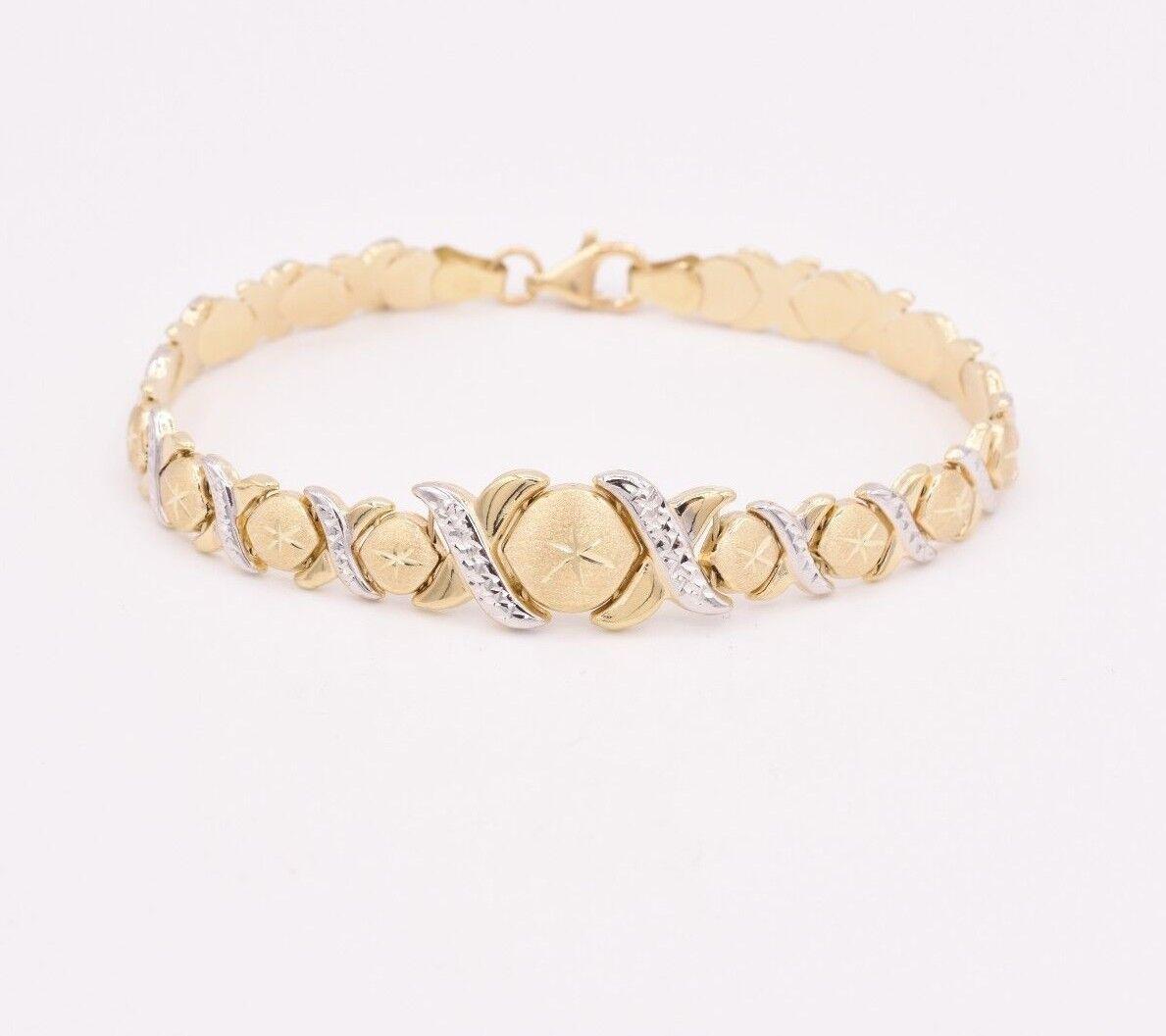 7.5  Diamond Cut Hugs & Kisses Bracelet Real 10K Yellow White Two-Tone gold XOXO
