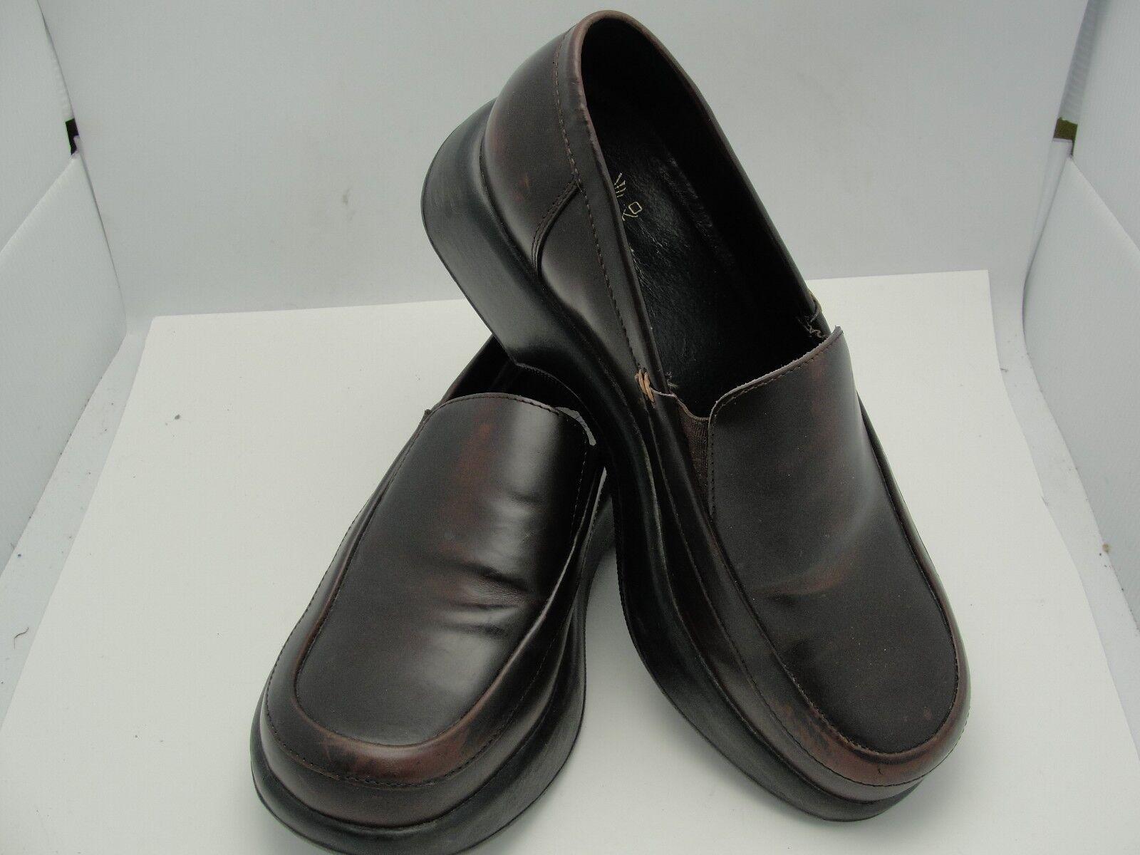 DANSKO Women's Dark Brown Leather Slip On Loafers Clogs shoes Size 9.5-10