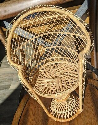Vintage Boho Mini Wicker Settee Couch Table Doll Furniture Plant Stand