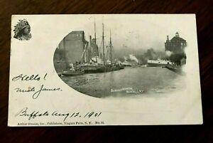 BUFFALO-NY-Harbor-1901-Private-Mailing-Postcard-B-amp-W-ships-Native-Am-Chief