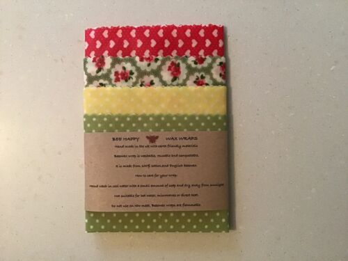 2x 25cm 2x 20cm Bee Happy Beeswax Wraps *CHEESES PACK* Four Pack