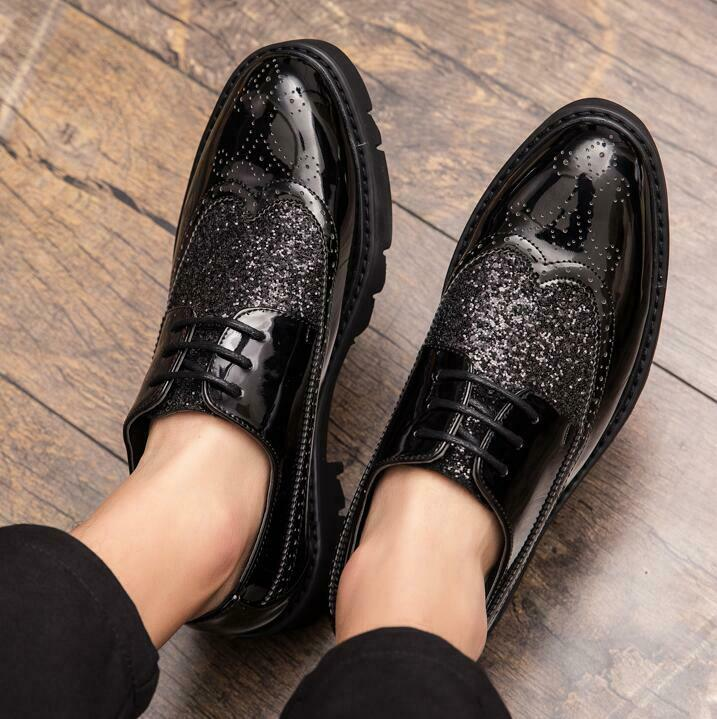 Patent Leather Lace Up Brogues Dress Formal shoes Sequins Glitterings Oxfords