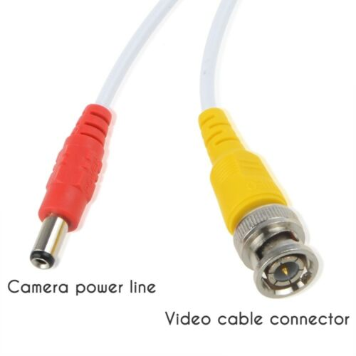 100ft BNC Video Power Cable for CCTV Security Camera+2x Female Adapter Connector
