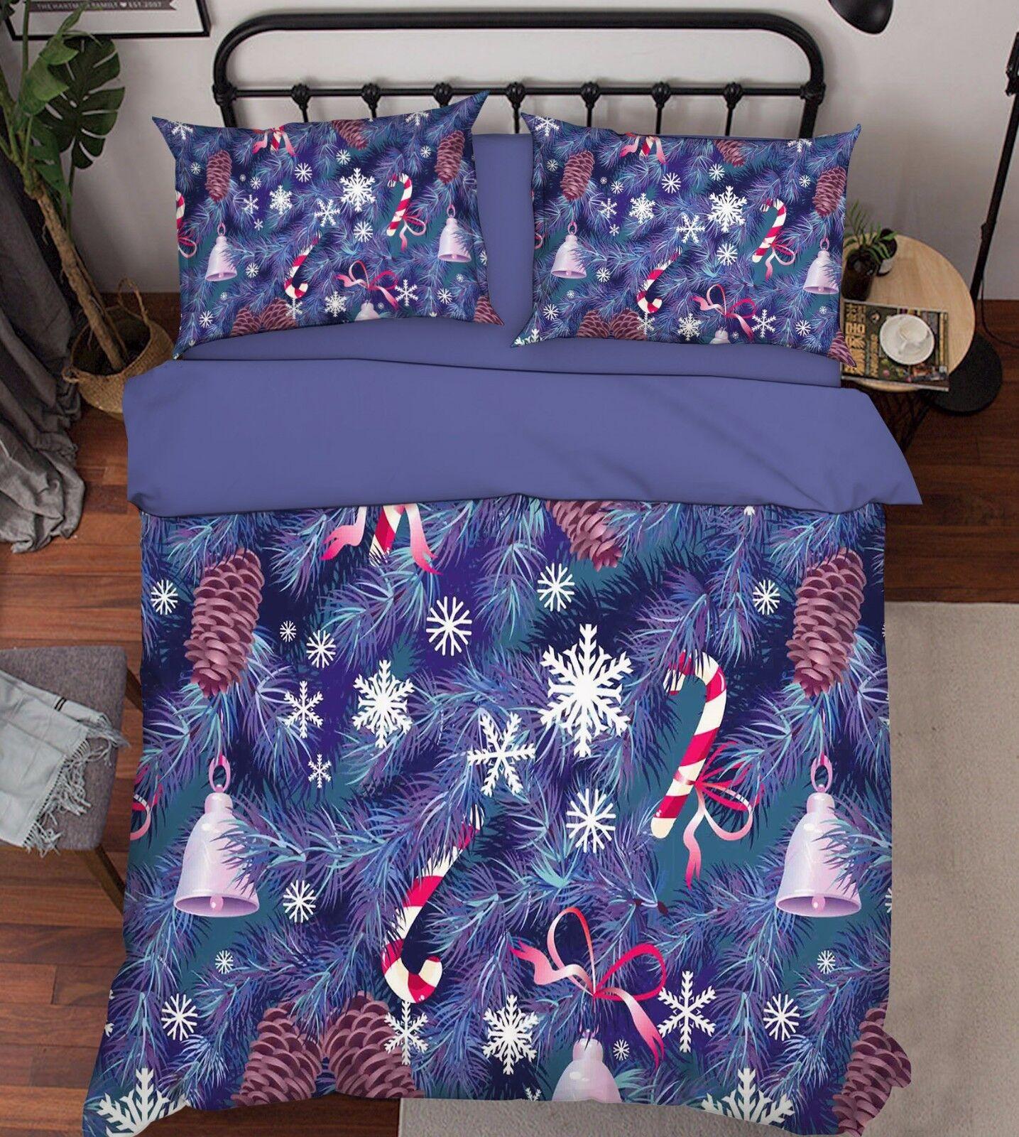 3D Christmas Snowflake 641 Bed Pillowcases Quilt Duvet Cover Set Single Queen CA