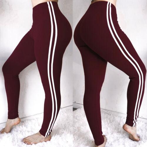 Women/'s High Waist Yoga Pants Side Stripe Leggings Fitness Running Trousers NJ13