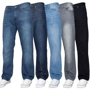 Jeans-Para-Hombre-Calce-Regular-Pierna-Recta-Pantalon-Denim-Pantalones-Cintura-Tallas-Grandes-De
