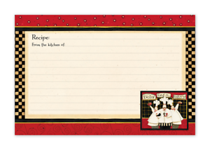 """Lined on Both Side Bistro Chef Pkg of 36 Lined Country Recipe Cards 4/""""x6/"""""""