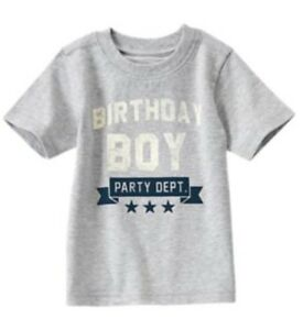 NWT Gymboree Boy BIRTHDAY SHOP Gray Tee Shirt Party Dept. Size 2t