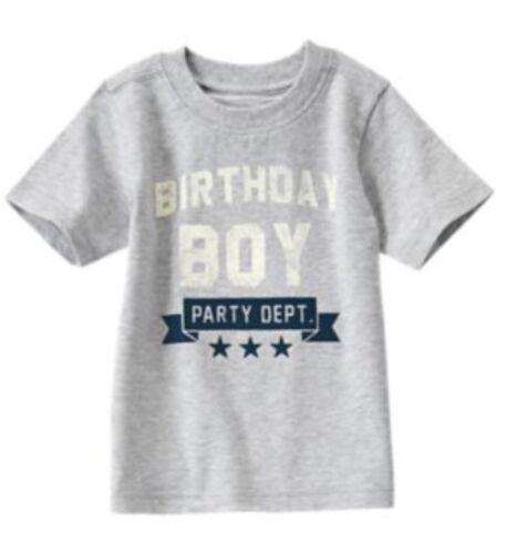 Size 2t NWT Gymboree Boy BIRTHDAY SHOP Gray Tee Shirt Party Dept