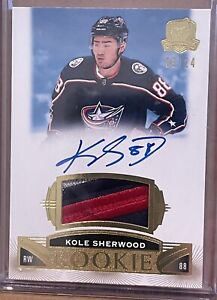 2019-20 UD THE CUP  KOLE SHERWOOD GOLD ROOKIE PATCH AUTO 3 COLOR LOGO 9 OF 24