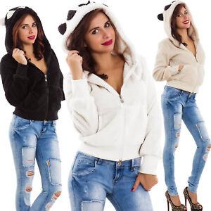 Felpa-donna-cappuccio-orecchie-eco-pelliccia-maglione-panda-kawaii-nuova-561