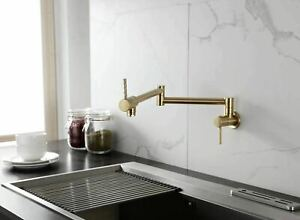 Brass Pot Filler Faucet Wall Mounted Kitchen Faucet Single Cold Brushed Gold Tap Ebay