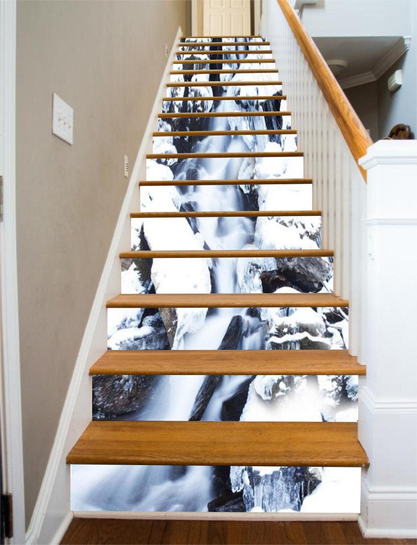 3D Rivulet White Stair Risers Decoration Photo Mural Vinyl Decal Wallpaper CA