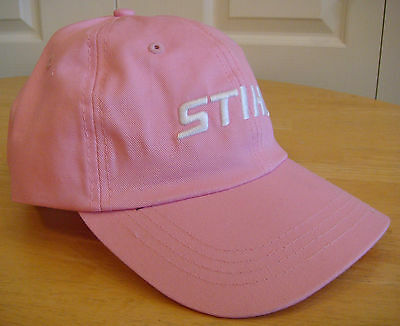 Stihl Women/'s Pink Fabric Hat Cap with Embroidered White Logo and Metal Clasp