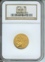 1914 $5 INDIAN HALF EAGLE NGC MS61 MS-61 BETTER DATE ORIGINAL GOLD COIN !!!