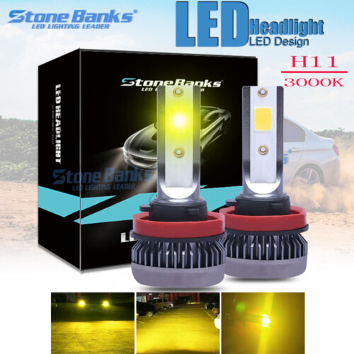Mini H8 H11 LED Headlight Bulb Conversion Kit Or Fog Light 3000K Golden Yellow