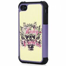 Licensed Harley Davidson Floral with Skul Hybrid Rigged Case for Apple iPhone 4S
