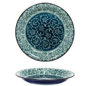 "Japanese Dinner Serving Dish Plate 10.25/""D Porcelain Blue Brown Rust JAPAN MADE"