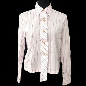 Authentic-CHANEL-Vintage-CC-Logos-Stripe-Long-Sleeve-Shirts-Pink-38-T04420