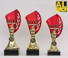 3er-Serie Pokale mit Jahreszahl 2018 oder 2019 und Embem  inkl. Gravuren
