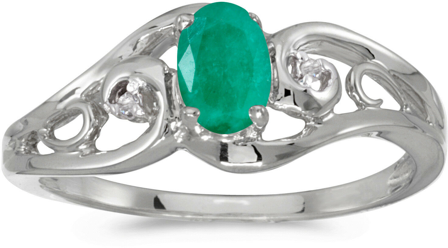 10k White gold Oval Emerald And Diamond Ring (CM-RM2590W-05)