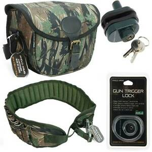 CAMO CARTRIDGE BAG + GUN TRIGGER LOCK 12 BORE BELT HOLDER HUNTING ...