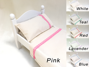 3pc.Bedding Linen//Sheet set for dolls FITS American Girl MuslinNatural Color Rib