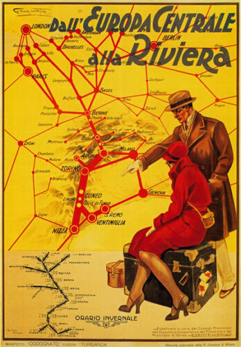 TX98 Vintage London-Europe Riviera French Railway Train Travel Poster A4