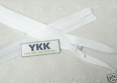 "100 11/"" Invisible Zippers ~Closed Bottom~ White ~ YKK"
