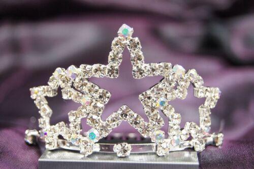 Bridal Wedding Party Tiara Crown Crystal star silver