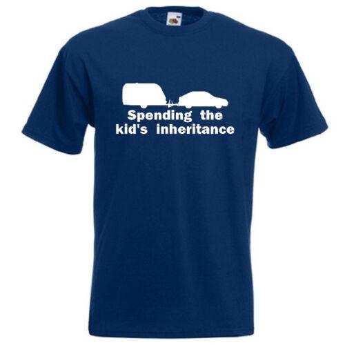 SPENDING THE KIDS INHERITANCE T-SHIRT funny holiday camping caravan travel
