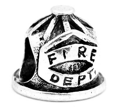 Antiqued Silver 3D Fireman FIRE DEPT Shield Helmet Large 5mm Hole Charm Bead 1pc