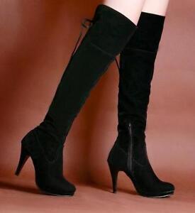 Negro-11-4cm-Alto-Zapatos-de-Tacon-Tacon-2-5cm-Plataforma-Puntera-Redonda-Sexy