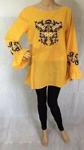 Women-Fashion-Indian-Pakistani-Embroidery-Short-Kurti-Tunic-Kurta-Top-Shirt
